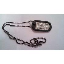 Dog Tag Placa De Identificacion Militar Cadena Bola Negra