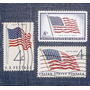 3 Estampillas Stamps 4c Bandera Flag Estados Unidos Usa