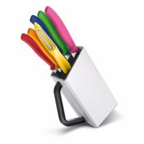 Conjunto De Facas Cozinha Coloridas Victorinox 7 Pç C/ Cepo