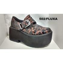 Zapatos Cerrados Cuero Con Plataforma Charol Fluxa 502 Ofert