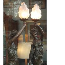 Petit Bronce Mujeres Par De Luminarias 120cm Con Tulipas