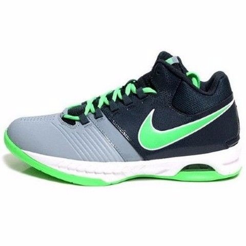 tenis nike grises con verde