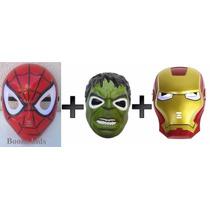 3 Mascaras Homem De Ferro + Homem Aranha + Hulk