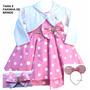 Vestido Infantil Festa Minnie Rosa Luxo Com Bolero E Faixa