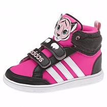 Zapatillas Adidas Neo Hoops Animal Mid Bebes Fucsia C/negro