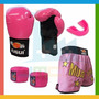 Kit Combat Girl Luva + Bandagem + Bucal + Shorts Feminino