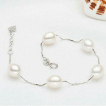 Pulsera Plata 925/perlas Cultivadas Ad,joya /envío Gratis