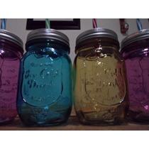 50 Pz.mason Jars Frasco Tapa Y Popote Vintage Varios Color