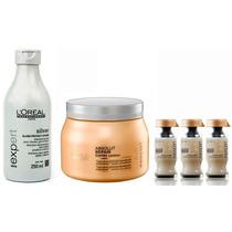 Shampoo Silver Loreal 250ml + Máscara E Ampola Lipidium 500g
