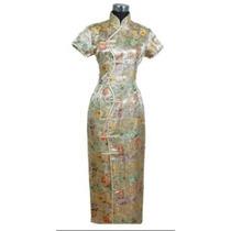 Vestido Chino Tradicional, Largo. Color Dorado