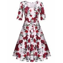 Vestido Retro Vintage Pin Up Flores Envio Gratis Dhl