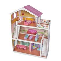 Casa Casinha De Bonecas Rosa De Madeira Com Mobiliário