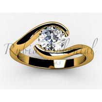 Anel Solitário Com Lindo Diamante De 40 Pontos.