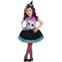 Disfraz Niña Dia De Muertos Calavera Talla 4 A 6 Años