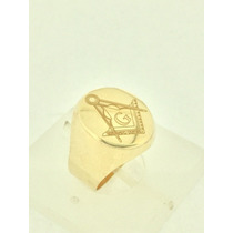 Anel Maçonaria Ouro 18k 0.750 Forrado Com 10 Gramas