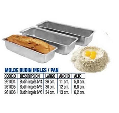 Molde Budin Ingles Pan Para Reposteria 34cm Laterales Rectos 200