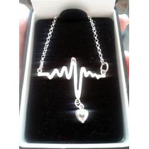 Dije Electrocardiograma Plata .925 Incluye Cadena Medicina