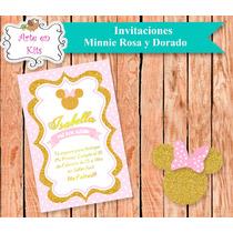 Tarjetas Invitaciones Minnie Rosa Y Dorado X10u De 10x15 Cm