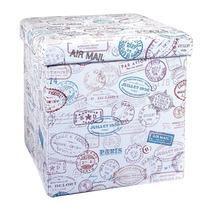 Puff Dobrável Branco Estampa Carimbo Postal Em Mdf