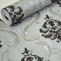 Papel De Parede Importado Texturizado Damask Cinza Preto 10m