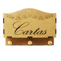 Porta Cartas E Chaves Vazado Floral De Mdf 20x15x5 Cm
