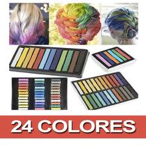 Mechas Para El Pelo Temporales, Tizas 24 Colores Natural.