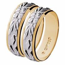Par Aliança Casamento Abaulada Bodas Prata Ouro18k - Gf15036
