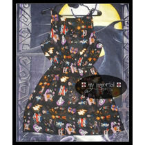 Vestido De Gasa Estampada 80´s Punk, Pin Up, Dark, Goth