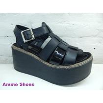 Plataformas Sandalias Cuero Franciscanas Verano Amme Shoes
