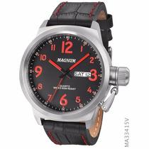 Relógio Masculino Magnum Ma33415v Esportivo Pulseira Couro