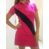 Vestido Feminino Gola Polo Faixa Tecido Piquet Modelo Verão