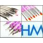 Kit 15 Pinceles Nail Art Dotting Lengua De Gato Deco Uñas