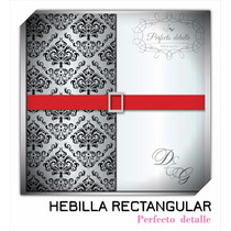 25 Hebillas Rectangular Plateadas Invitaciones Pd