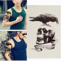 Tatuagem Temporária 3d Grande Real Caveira Crânio Corvo Avé