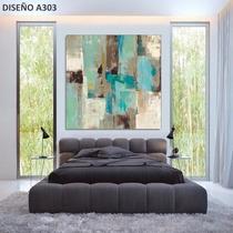 Cuadros Modernos Turquesa Aqua 100x100 Abstractos Tripticos