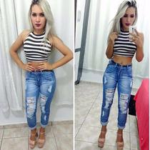Calça Jeans Feminina Destroyed, Cigarrete Roupa De Bloqueira