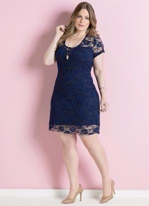 Vestido de renda azul royal plus size