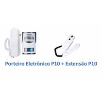 Kit Interfone Porteiro Eletronico Agl P10 +monofone Extensão