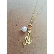 Cadena Inicial Letra Perla Cultivada Oro Laminado 22k Collar