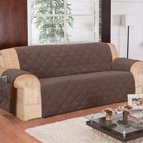 Capa Protetor Sofa Na Cor Tabaco 3 Lugares Em Microfibra