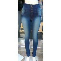 Calca Jeans Feminino Hot Pants Cintura Alta 4 Botoes Linda