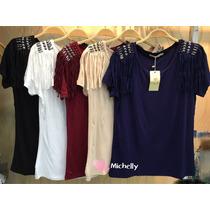 T-shirts Camisetas Feminina Bordadas Com Pedrarias