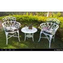Jogo De Cadeiras Mais Mesa Para Jardim Ou Varanda Aluminio