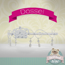 Dossel + Véu Princesa Perola Coroa Mosquiteiro Cristal Bebê