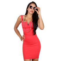 Mishka: Vestido Coral Escote V. Entrega Inmediata
