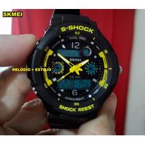 Relógio Skmei S Shock 0931 Preto & Amarelo- Fotos Reais