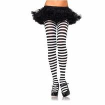 Meia Calça Listrada Leg Avenue - Plus Size Branca E Preta