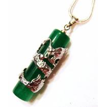 Pingente Amuleto Pino De Jade Verde Com Dragão Enrolado
