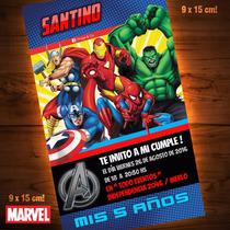 Tarjetitas De Invitación De Marvel / Cumpleaños / Avengers