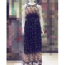 Vestido Longo Feminino Com Pedraria Florido Pronta Entrega